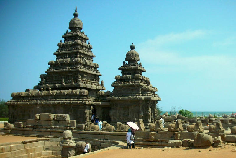tempelj na plazi v Mahabalipuramu